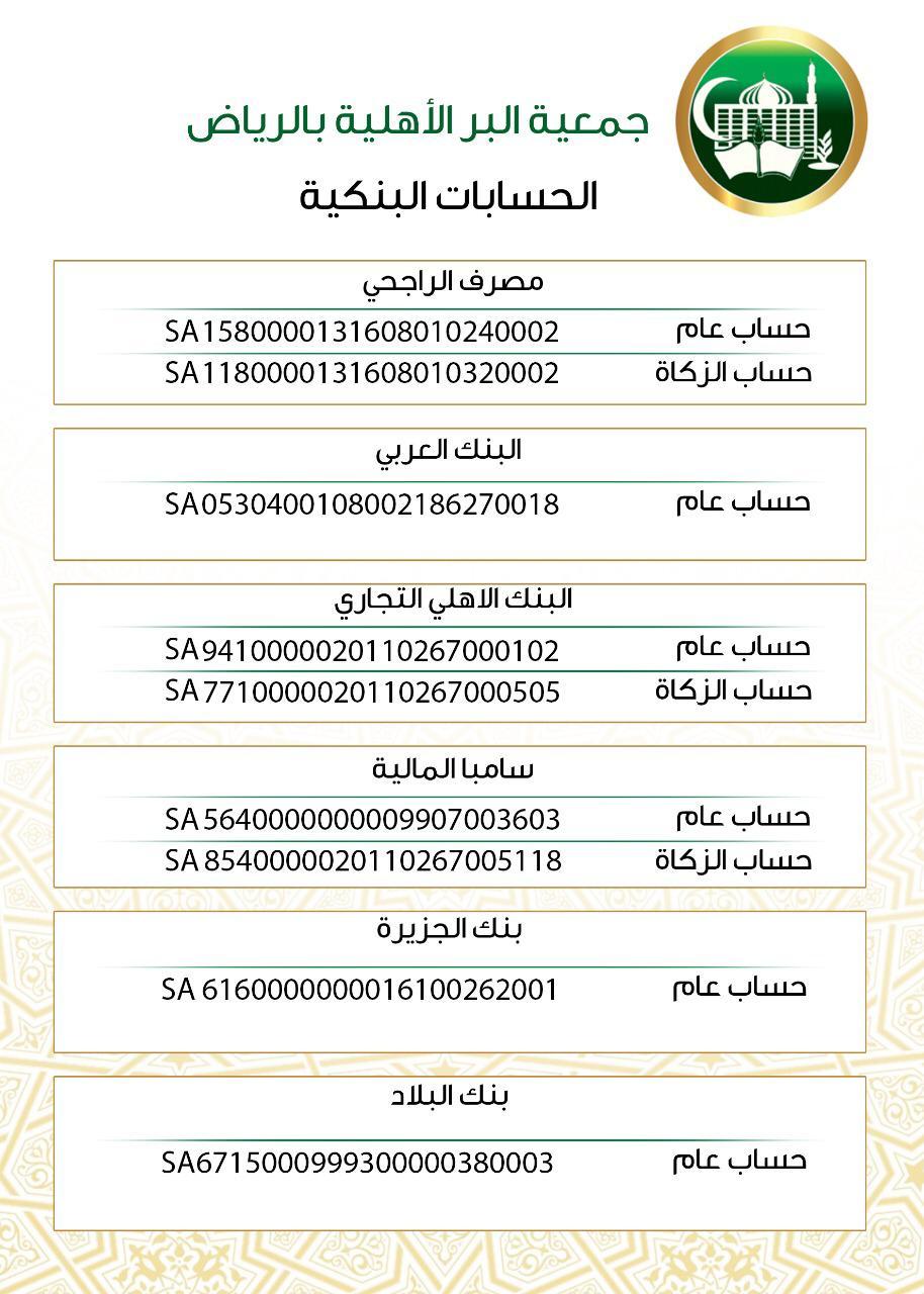 الحسابات البنكية جمعية البر الأهلية بالرياض